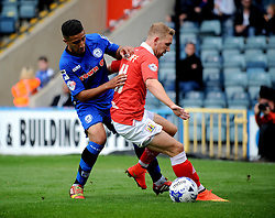 Bristol City's Scott Wagstaff holds up the ball from Rochdale's Bastien Hery - Photo mandatory by-line: Dougie Allward/JMP - Mobile: 07966 386802 23/08/2014 - SPORT - FOOTBALL - Manchester - Spotland Stadium - Rochdale AFC v Bristol City - Sky Bet League One