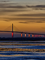 Sunshine Skyway Bridge at Dawn from Fort De Soto Park. Split Print 5 of 6 images taken with a Fuji X-H1 camera and 200 mm f/2 OIS lens (ISO 400, 200 mm, f/4, 1/8 sec). Raw images processed with Capture One Pro and AutoPano Giga Pro.
