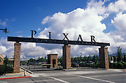 The front gate entrance of the Pixar Animation Studio in Emeryville, California.