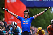 Arrival, Men Road Race 230,4 km, Matteo Trentin (ITA - Mitchelton - Scott) winner, during the Cycling European Championships Glasgow 2018, in Glasgow City Centre and metropolitan areas, Great Britain, Day 11, on August 12, 2018 - Photo Dario Belingheri / BettiniPhoto / ProSportsImages / DPPI - Belgium out, Spain out, Italy out, Netherlands out -