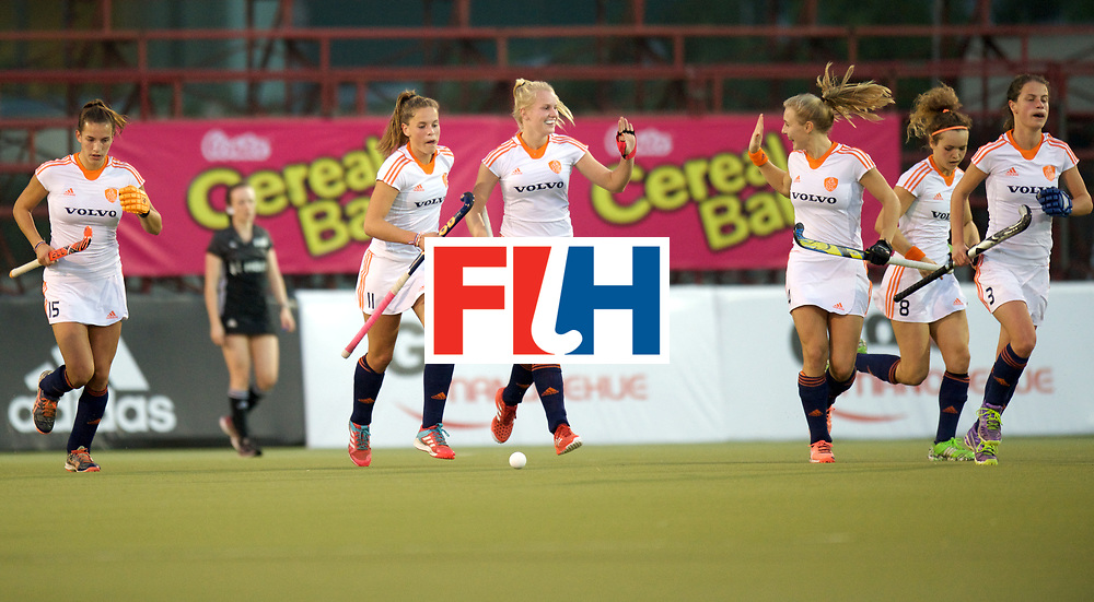 SANTIAGO - 2016 8th Women's Hockey Junior World Cup<br /> USA v NED (Pool A)<br /> foto: Netherlands scores.<br /> FFU PRESS AGENCY COPYRIGHT FRANK