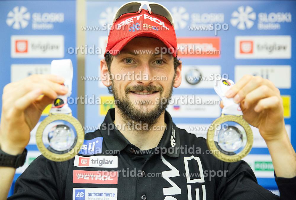 Jakov Fak posing with medals during press conference of Slovenian Biathlon Team for IBU World Championships in Kontiolahti (FIN), on February 26, 2015 in Ljubljana, Slovenia. Photo by Vid Ponikvar / Sportida