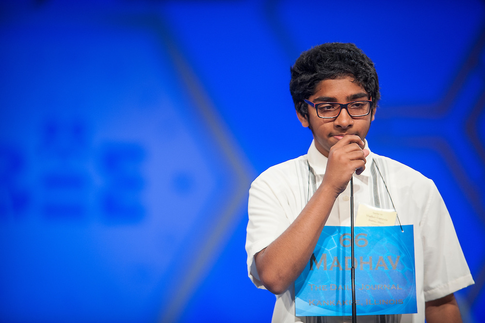 Madhav Chand Srivatsa Gampala, 14, of Bradley, Illinois, participates in round two of the preliminaries of the Scripps National Spelling Bee on May 28, 2014 at the Gaylord National Resort and Convention Center in National Harbor, Maryland.