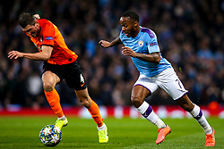 Raheem Sterling of Manchester City takes on Serhiy Kryvtsov of Shakhtar Donetsk - Mandatory by-line: Robbie Stephenson/JMP - 26/11/2019 - FOOTBALL - Etihad Stadium - Manchester, England - Manchester City v Shakhtar Donetsk - UEFA Champions League Group Stage
