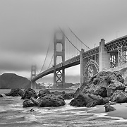 Golden Gate Bridge - Marshall's Beach - Black & White