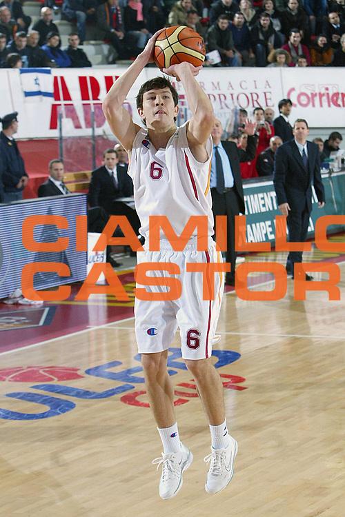 DESCRIZIONE : Roma Uleb Cup 2005-06 Lottomatica Virtus Roma Hapoel Gerusalemme <br /> GIOCATORE : Ilievski <br /> SQUADRA : Lottomatica Virtus Roma <br /> EVENTO : Uleb Cup 2005-2006 <br /> GARA : Lottomatica Virtus Roma Hapoel Gerusalemme <br /> DATA : 22/11/2005 <br /> CATEGORIA : Tiro <br /> SPORT : Pallacanestro <br /> AUTORE : Agenzia Ciamillo-Castoria/G.Ciamillo
