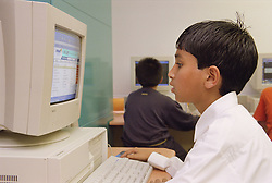 Primary school boy working at computer in Information technology lesson,