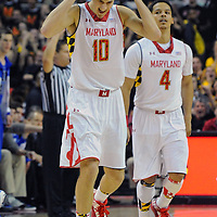 16 February 2013:   Maryland Terrapins guard/forward Jake Layman (10) reacts after a basket in action against the Duke Blue Devils at the Comcast Center in College Park, MD. where the Maryland Terrapins defeated the Duke Blue Devils, 83-81.