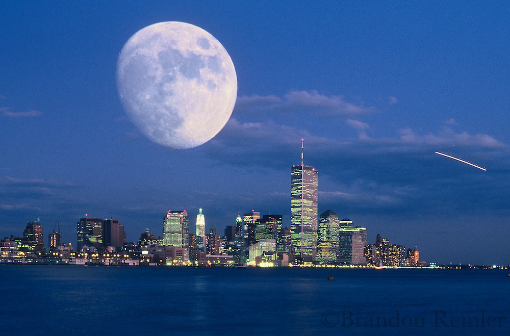Big moon over NYC and Twin Towers