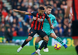 BOURNEMOUTH, ENGLAND - Sunday, November 25, 2018: AFC Bournemouth's Joshua King (L) and Arsenal's Shkodran Mustafi during the FA Premier League match between AFC Bournemouth and Arsenal FC at the Vitality Stadium. (Pic by David Rawcliffe/Propaganda)