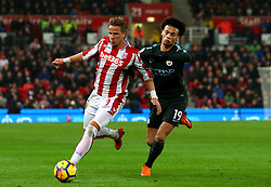 Moritz Bauer of Stoke City takes on Leroy Sane of Manchester City - Mandatory by-line: Robbie Stephenson/JMP - 12/03/2018 - FOOTBALL - Bet365 Stadium - Stoke-on-Trent, England - Stoke City v Manchester City - Premier League