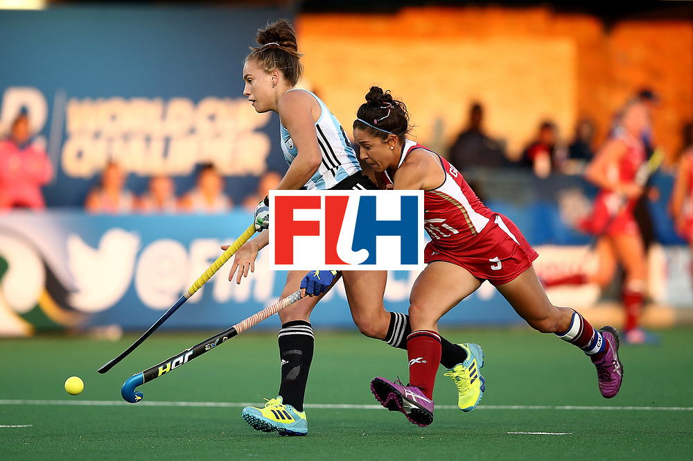 JOHANNESBURG, SOUTH AFRICA - JULY 14:  Julieta Jankunas of Argentina breaks past the defence of Melissa Gonzalez of United States of America for her goal during day 4 of the FIH Hockey World League Semi Finals Pool B match between the United States and Argentinat Wits University on July 14, 2017 in Johannesburg, South Africa.  (Photo by Jan Kruger/Getty Images for FIH)