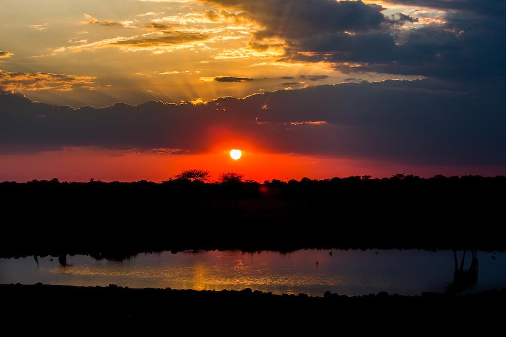 Sunset images at Okaukuejo, Etosha, Namibia.