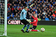 Cardiff city's Aron Gunnarsson heads wide of goal past Millwall keeper David Forde.  NPower championship, Cardiff city v Millwall at the Cardiff city stadium in Cardiff, South Wales on Saturday 29th Dec 2012. pic by Andrew Orchard, Andrew Orchard sports photography,
