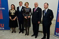 King Willem-Alexander and Queen Maxima from Netherland during the opening concert van the Netherland for the Presidency of the Council of the European Union.<br /> Pics:  M.S.M. Van den Heuvel, King Wilem-Alexander, Queen Maxima, Etienne Davignon, P.de Gooijer. Brussels, 22 january 2016, Belgium