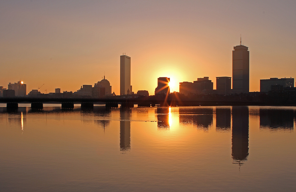Good Morning Boston Charles river skyline photography images are available as museum quality photography prints, canvas prints, acrylic prints or metal prints. Prints may be framed and matted to the individual liking and room decor needs:<br />