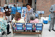 17 August- New York, NY:  (C) New York City Council Candidate Laurie Cumbo attends the endorsement announcement by U.S.Congressman Hakeem Jeffries of Laurie Cumbo for City Council District 35 held at the Laurie Cumbo Campaign Headquarters in the Prospect Heights section of Brooklyn, NY on August 17, 2013 in New York City. © Terrence Jennings