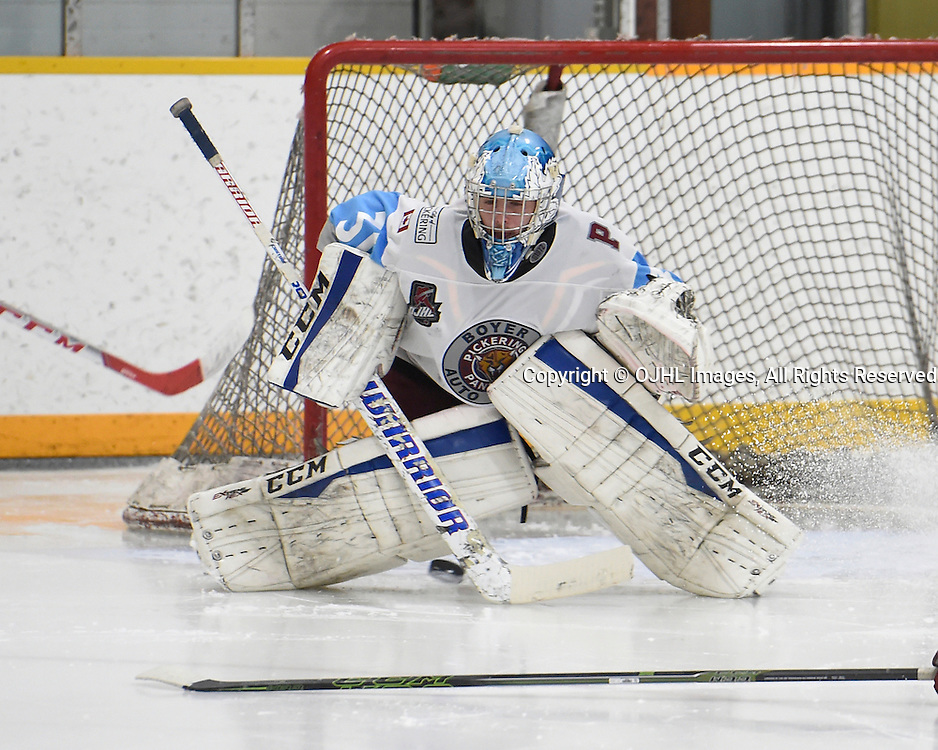 TRENTON, ON - JAN 24,  2017: Ontario Junior Hockey League game between Lindsay and Pickering at the 2017 Winter Showcase , Conor McCollum #31 of the Pickering Panthers makes the save during the third period.<br /> (Photo by Andy Corneau / OJHL Images)