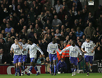 Photo: Lee Earle.<br /> Portsmouth v Chelsea. The Barclays Premiership. 03/03/2007.Chelsea players celebrate after Salomon Kalou (2ndL) scored their second.