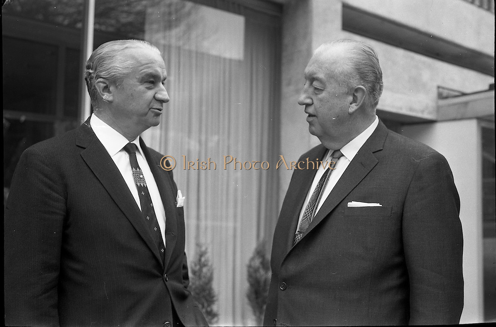 22/05/1963<br /> 05/22/1963<br /> 22 May 1963<br /> Opening of the Intercontinental Hotel, Pembroke Road, Ballsbridge, Dublin. The hotel was officially opened by An Taoiseach Mr. Sean Lemass. <br />  Image shows Mr. Robert Huyot, President of Intercontinental Hotels Corporation and Leo J. Riordan, General Manager of Intercontinental Hotels (Ireland) Ltd.