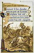 Pierre Terrail, Seigneur de Bayard (1475-1524) French hero, the 'knight without fear and beyond reproach', defending bridge at Garigliano alone against 200 Spanish troops for 30 minutes, 1503. Nineteenth Century Trade Card  Lithograph