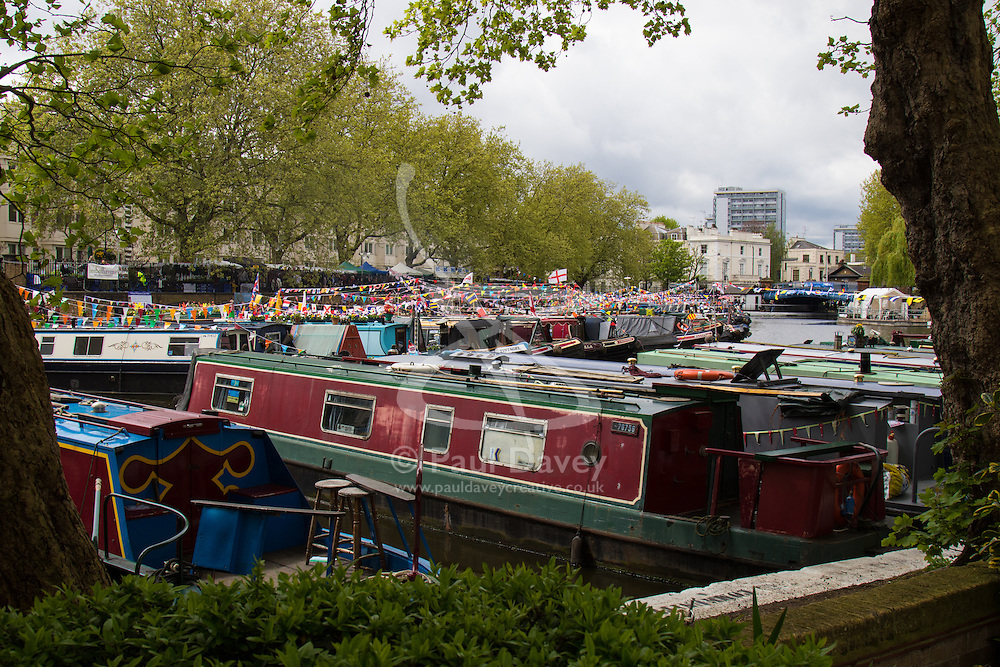 Little Venice, London, May 3rd 2015. After a dull, damp start to the day, hundreds of Londoners and narrowboat enthusiasts arrive at Paddington Basin at the juction of the Regents and the Grand Union Canals for the annual Inland Waterways Association's Canalway Cavalcade, celebrating the history and traditions of Britains vast network of canals and navigable rivers. PICTURED: