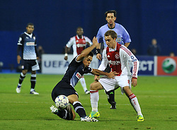 18.10.2011, Stadion Maksimir, Zagreb, CRO, UEFA CL, Gruppe D, Dinamo Zagreb (CRO) vs Ajax Amsterdam (NED), im Bild   Adrian Calello, Christian Eriksen // during UEFA Champions League group D match between Dinamo Zagreb (CRO) and Ajax Amsterdam (NED)) at Maksimir Stadium, Zagreb, Croatia on 18/10/2011. . EXPA Pictures © 2011, PhotoCredit: EXPA/ nph/ PIXSELL  **** only for AUT       ****** out of GER / CRO  / BEL ******