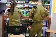 Israel military camp. Soldiers at the canteen