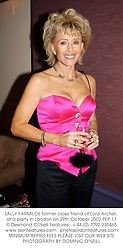 SALLY FARMILOE former close friend of Lord Archer, at a party in London on 29th October 2002.PEP 17