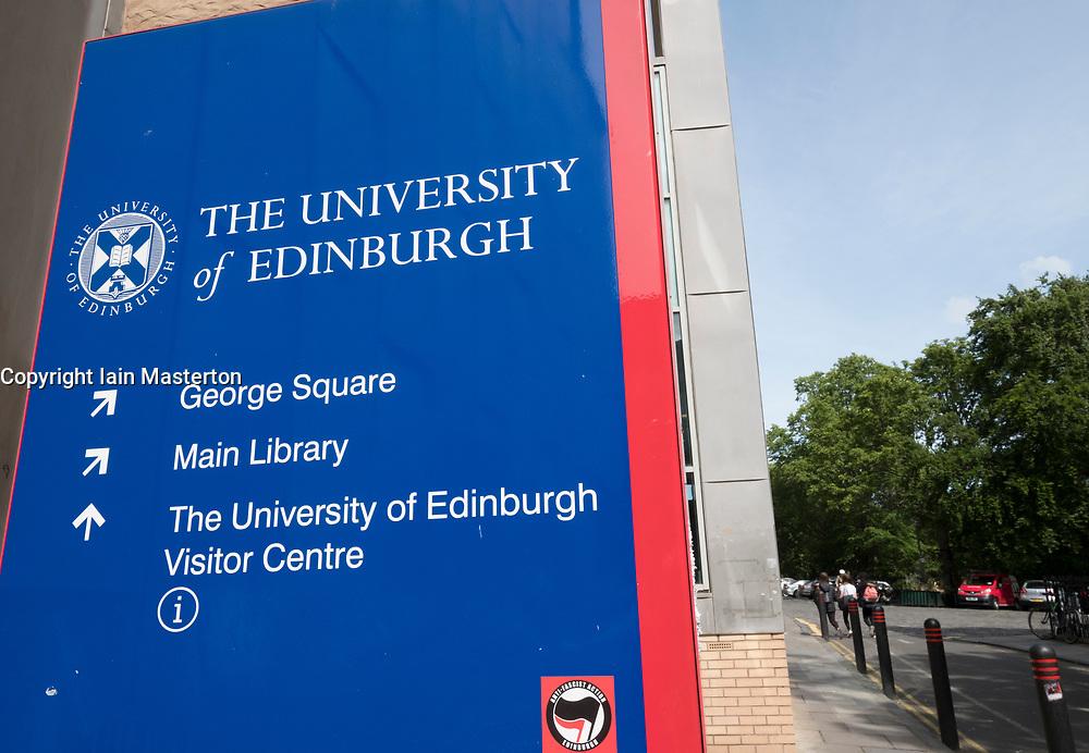 Sign at  University of Edinburgh in Scotland, United Kingdom