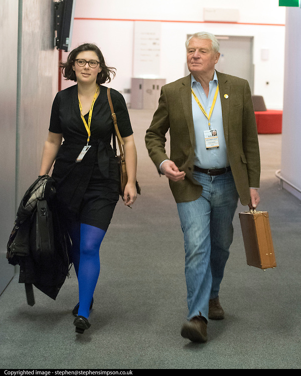 © Licensed to London News Pictures. 14/03/2015. Liverpool, UK. Lord Paddy Ashdown (right) arrives at the conference. The Liberal Democrat Spring Conference in Liverpool 14th March 2015. Photo credit : Stephen Simpson/LNP