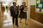 D.C. Public Schools Chancellor Kaya Henderson meets with Mary Ann Stinson, principal of Truesdell Education Campus on Friday, Nov. 16, 2012 in Washington, D.C. Henderson recently announced that she plans to close 20 under-enrolled schools across the district. CREDIT: Lexey Swall for The Wall Street Journal