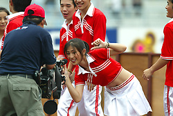 BANGKOK, THAILAND - Thailand. Thursday, July 24, 2003: Thai cheerleaders before a preseason friendly match between Thailand and Liverpool at the Rajamangala National Stadium. (Pic by David Rawcliffe/Propaganda)