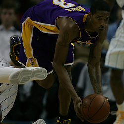 23 December 2008: Los Angeles Lakers forward Trevor Ariza (3) picks up a loose ball during a 100-87 loss by the New Orleans Hornets to the Los Angeles Lakers at the New Orleans Arena in New Orleans, LA. .