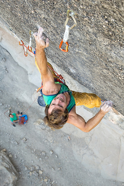 "Chris Sharma climbing his route ""Bon Combat"" 9b/b+ (15b/c) at Cova de Ocell near Barcelona Spain"