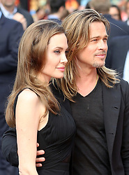 Brad Pitt  and Angelina Jolie arriving for the premiere of World War Z , in  London, Sunday, 2nd June 2013<br /> Picture by Stephen Lock  / i-Images