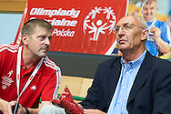 (L) Krzysztof Krukowski and (R) Edward Skorek former volleyball player World Champion 1974 and Olympic Champion 1976  during of The Special Olympics Unified Volleyball Tournament at Ursynow Arena in Warsaw on August 27, 2014.<br /> <br /> Poland, Warsaw, August 27, 2014<br /> <br /> For editorial use only. Any commercial or promotional use requires permission.<br /> <br /> Mandatory credit:<br /> Photo by © Adam Nurkiewicz / Mediasport