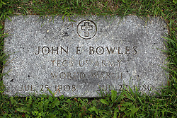 31 August 2017:   Veterans graves in Park Hill Cemetery in eastern McLean County.<br /> <br /> John E Bowles TEC5 US Army  Jul 25 1907 Jul 22 1980