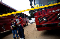 Crime scene of a number 40 P bus line where the pilot was murdered and the assistant was shot in the face by a unknown shooter in zone 7 of Guatemala City Guatemala, 16 January   2009. The number 40 P bus line is of one of the must deadly lines that take the majority of the killings in Guatemala City.