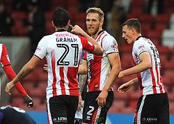 Jamie Grimes of Cheltenham Town scores a goal making it 1-1 - Mandatory by-line: Nizaam Jones/JMP - 11/11/2017 - FOOTBALL - LCI Rail Stadium - Cheltenham, England - Cheltenham Town v Luton Town - Sky Bet League Two