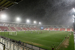 LEIGH, ENGLAND - Wednesday, February 28, 2018: Heavy snow falls during the Under-23 FA Premier League International Cup Quarter-Final match between Liverpool and FC Porto at Leigh Sports Village. (Pic by Paul Greenwood/Propaganda)