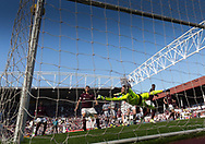 Hearts&rsquo; Jack Hamilton makes a superb save, tipping Dundee&rsquo;s Tom Hateley's goal bound free kick onto the upright - Hearts v Dundee in the Ladbrokes Scottish Premiership at Tynecastle, Edinburgh, Photo: David Young<br /> <br />  - &copy; David Young - www.davidyoungphoto.co.uk - email: davidyoungphoto@gmail.com