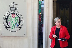 © Licensed to London News Pictures. 17/09/2019. London, UK. Joanna Cherry QC MP - SNP MP for Edinburgh South West leaves UK Supreme Court in London on the first day of the three day appeal hearing in the multiple legal challenges against the Prime Minister Boris Johnson's decision to prorogue Parliament ahead of a Queen's speech on 14 October. Eleven instead of the usual nine Supreme Court justices will hear the politically charged claim that Boris Johnson acted unlawfully in advising the Queen to suspend parliament for five weeks in order to stifle debate over the Brexit crisis. It is the first time the Supreme Court has been summoned for an emergency hearing outside legal term time. Lady Hale, the first female president of the court who retires next January, will preside. Photo credit: Dinendra Haria/LNP