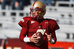 November 20, 2010; Chestnut Hill, MA, USA;  Boston College Eagles quarterback Chase Rettig (7) warms up before the game against the Virginia Cavaliers at Alumni Stadium.