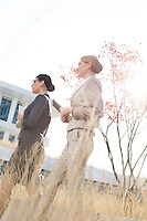 Side view of confident businesswomen walking against clear sky