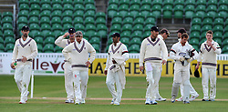 Dejection for the Somerset Team after their defeat to Middlesex. - Photo mandatory by-line: Harry Trump/JMP - Mobile: 07966 386802 - 29/04/15 - SPORT - CRICKET - LVCC Division One - County Championship - Somerset v Middlesex - Day 4 - The County Ground, Taunton, England.