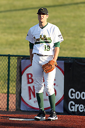 07 June 2013:   Drew Provence during a Frontier League Baseball game between the Southern Illinois Miners and the Normal CornBelters at Corn Crib Stadium on the campus of Heartland Community College in Normal Illinois