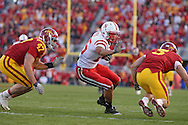 November 06 2010: Nebraska Cornhuskers tight end Kyler Reed (25) tries to avoid Iowa State Cyclones linebacker A.J. Klein (47) and Iowa State Cyclones cornerback Zac Sandvig (3) during the second half of the NCAA football game between the Nebraska Cornhuskers and the Iowa State Cyclones at Jack Trice Stadium in Ames, Iowa on Saturday November 6, 2010. Nebraska defeated Iowa State 31-30.