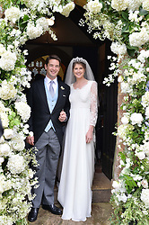 The Bride and Groom PRINCESS FLORENCE VON PREUSSEN and the HON.JAMES TOLLEMACHE at the wedding of Princess Florence von Preussen second daughter of Prince Nicholas von Preussen to the Hon.James Tollemache youngest son of the 5th Lord Tollemache held at the Church of St.Michael & All Angels, East Coker, Somerset on 10th May 2014.