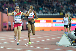 14/07/2017 : Sanaa Benhama (MAR), Somaya Bousaid (TUN), T13, 1500m (Women's) Final, at the 2017 World Para Athletics Championships, Olympic Stadium, London, United Kingdom